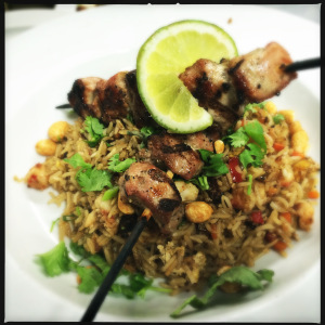 grilled pork with fried rice